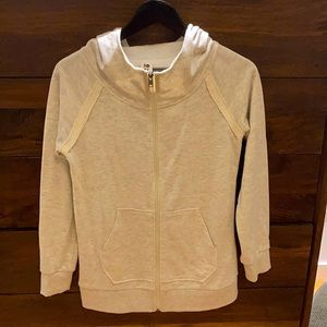 Roxy Cream-Coloured Zip Up hooded Sweatshirt